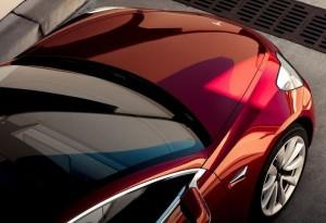 Tesla model 3 rode variant foto van boven