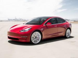 Tesla lease Model 3 leasen voorkant naar links